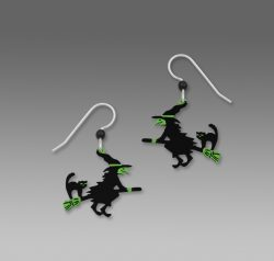 Sienna Sky Green & Black Flying Witch Earrings With Cat On Broom
