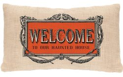 Heritage Lace Welcome To Our Haunted House Pillow